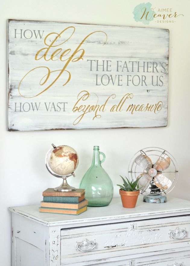 How deep the father's love for us, how vast beyond all measure | wood sign by Aimee Weaver Designs