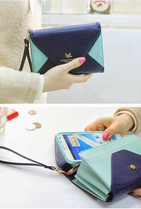Love Letter Colorblock Envelope Cell Phone Wallet Wristlet in Mint/Navy | Sincerely Sweet Boutique