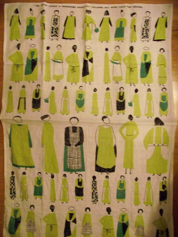 tea towel, Lucienne Day ''Too many cooks''.  Puotila, Helsinki, Finland.  #dumpsterdiving #lucienneday #vintageteatowel