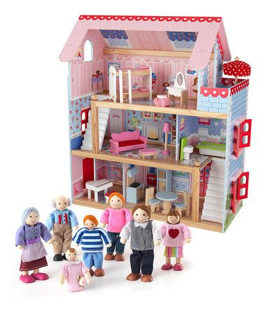 Chelsea Dollhouse U0026 Doll Family Set By KidKraft Ncludes Dollhouse And 19  Pieces Of Furniture And