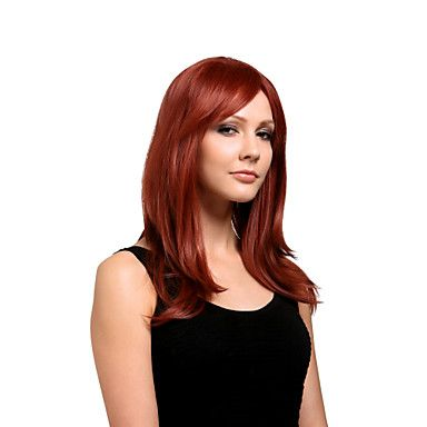[BlackFridaySale]Høykvalitets+syntetisk+parykk+med+langt+rett+hår,+naturlig+look,+rødt+hår+–+NOK+kr.+130