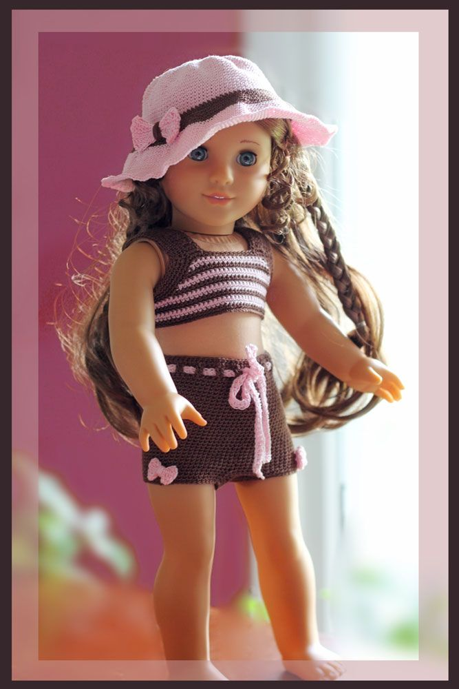 free crochet patterns for 18 inch dolls | Sugar Bows Tankini and Sunhat