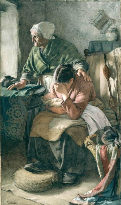 """But Men Must Work and Women Must Weep"" by Walter Langley (1852 – 1922), an English painter & founder of the Newlyn School of plein air artists."