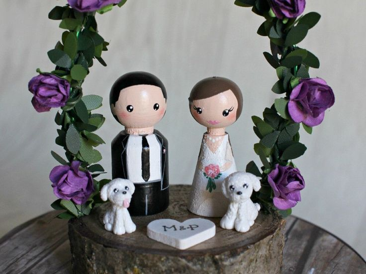 Personalized Wedding Cake Topper with arch, Customized Wedding Cake, Peg Dolls, Custom Wedding Bride and Groom, Custom Cake Top, dog, pet by ArtwenShop on Etsy https://www.etsy.com/listing/256796257/personalized-wedding-cake-topper-with