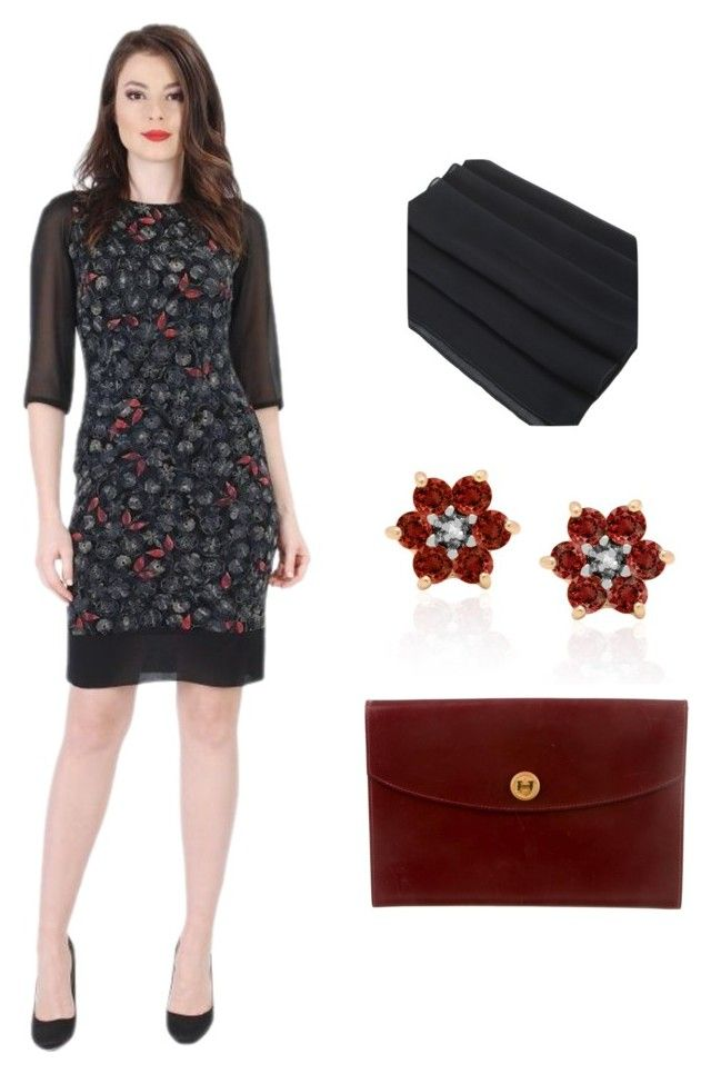 """Crimson Shades by YOKKO"" by yokko-the-fashion-store on Polyvore featuring Dolce Giavonna and Hermes  #yokko #yokkoromania #spring #office #red #crimson #flowers #elegance #ss16 #spring2016"