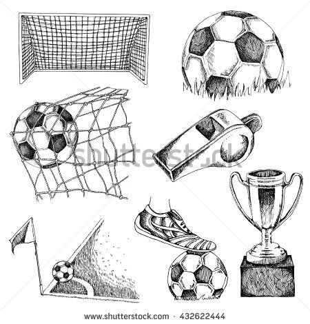 Design Elements Of Soccer. Doodle Illustration Eps10 - 432622444 : Shutterstock