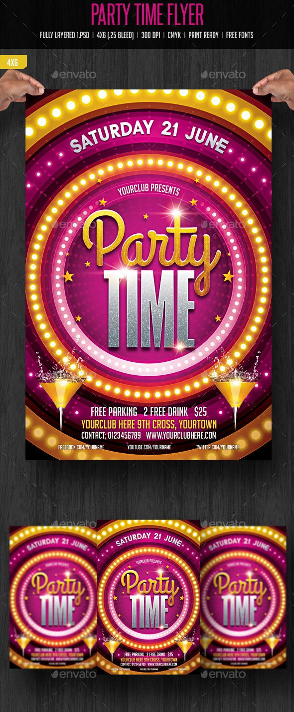 Party Time Flyer Template #design
