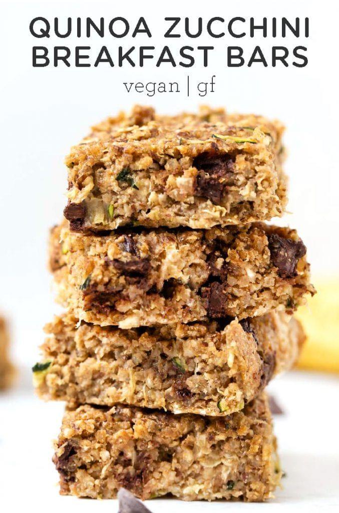 Chocolate Chip Zucchini Breakfast Bars Vegan Gf Simply Quinoa Recipe Zucchini Breakfast Simply Quinoa Quinoa Breakfast Bars