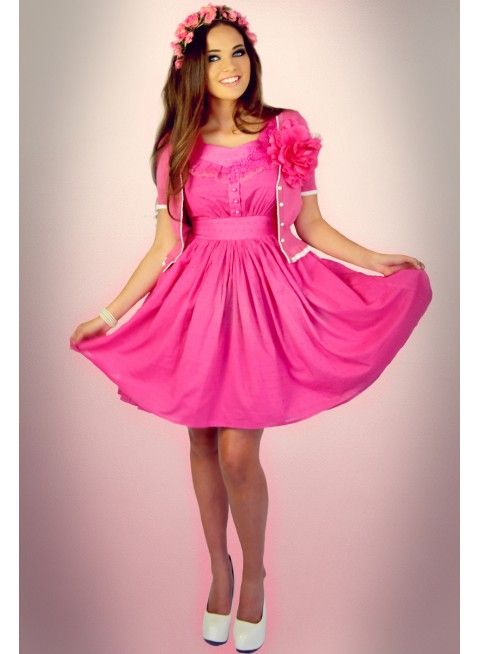 Paper Doll Motif Dress (Fuchsia)