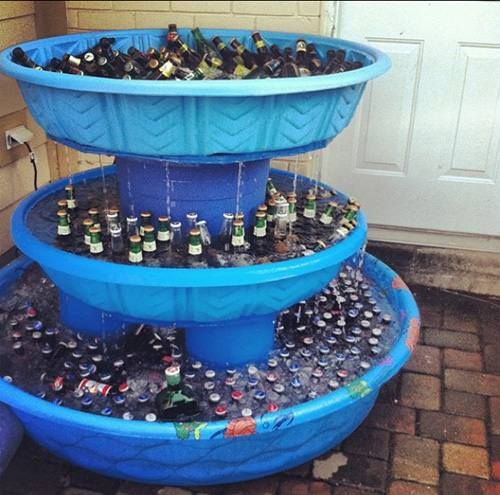 Guy Gift: Beer Fountain made with disposable kid's pools   or use different drinks like sodas and water and have at a party.. :)