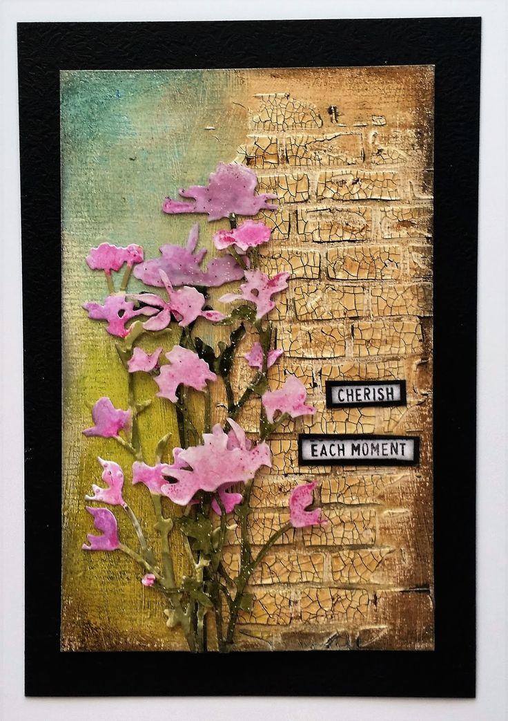 Mrs. B: Brick stencil, Crackle Paste & Distress Inks; Tim Holtz Wildflower dies; Distress Crayons