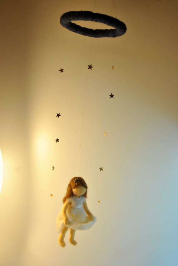 Waldorf inspired needle felted doll mobile The Star by MagicWool, $65.00