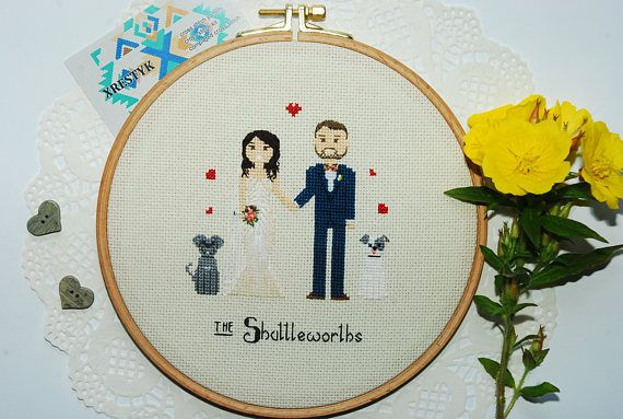Custom WEDDING gift Personalized gift Cross stitch family