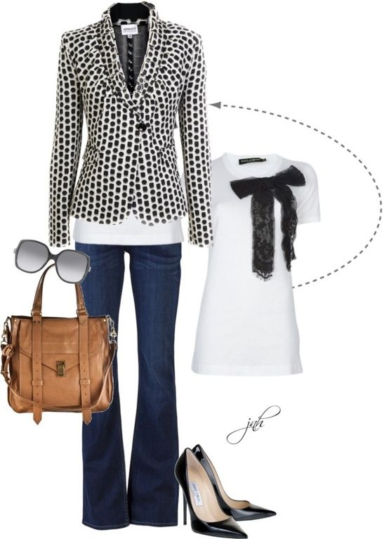 .: Polka Dots, Fashion, Style, Black And White, Clothes, Black White, Work Outfit, Casual Fridays