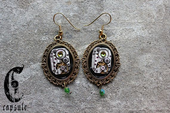 Steampunk Neo Victorian Golden Cameo Earrings with Antique Etched Striped Watch Movement with Green Peridot Swarovski Crystal