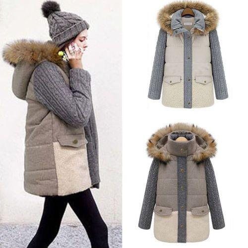 New Hooded Coat Fashion Winter Warm Women Stand-Collar Long Cotton Jacket Coats