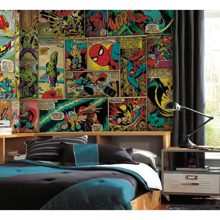Fantastic mural for the marvel fan giant pages from for Comic book mural