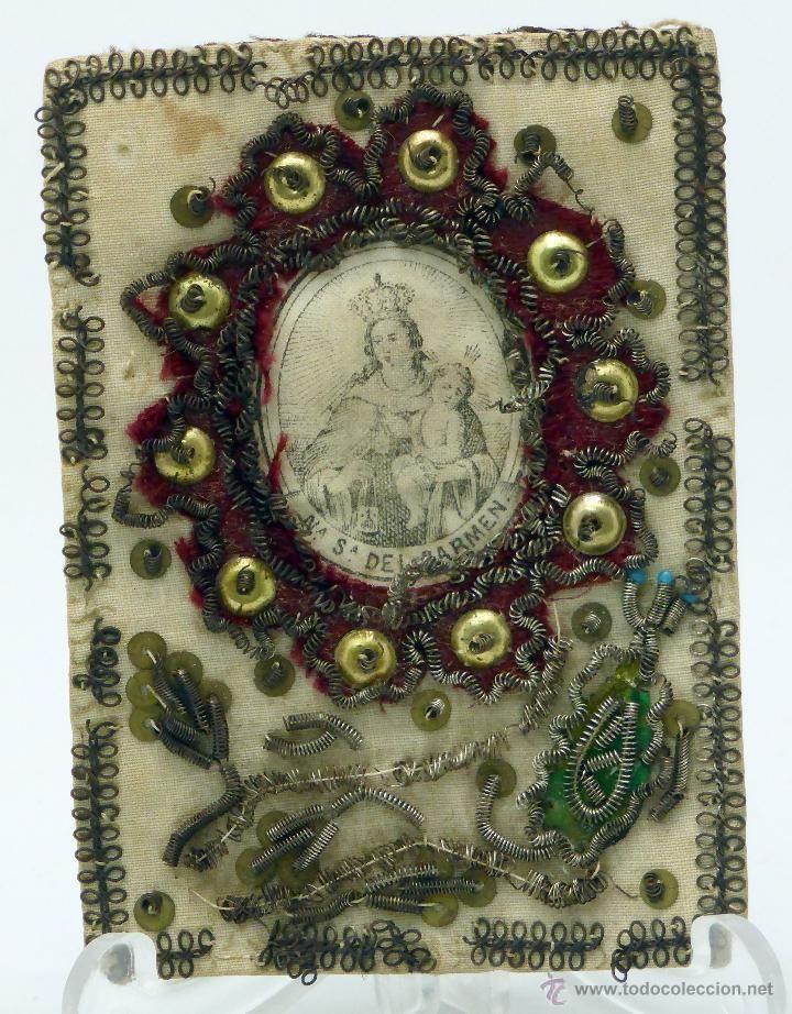 Principal - Escapulario Virgen del Carmen seda bordada y grabada hilo metálico aplicaciones S XIX