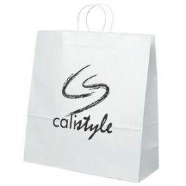 Duke White Kraft Paper Shoppers Bag (Ink)