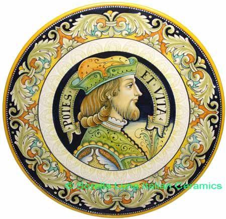 Ceramic Majolica Plate Portrait Male BW GRN POTES