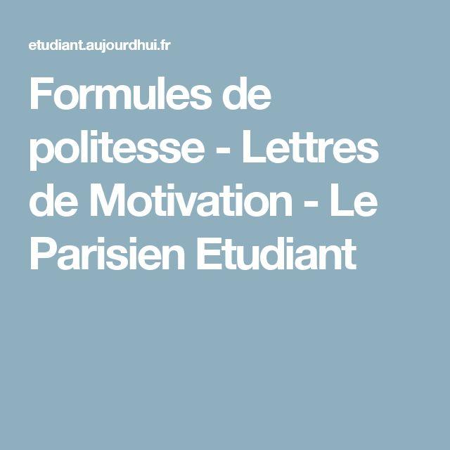 formules de politesse - lettres de motivation