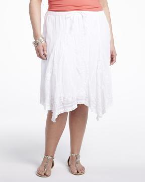 embroidered skirt   Shop Online at Addition Elle #AdditionElleOntheRoad