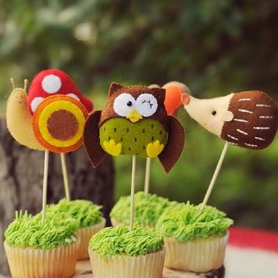 Woodland theme felt cupcake toppers