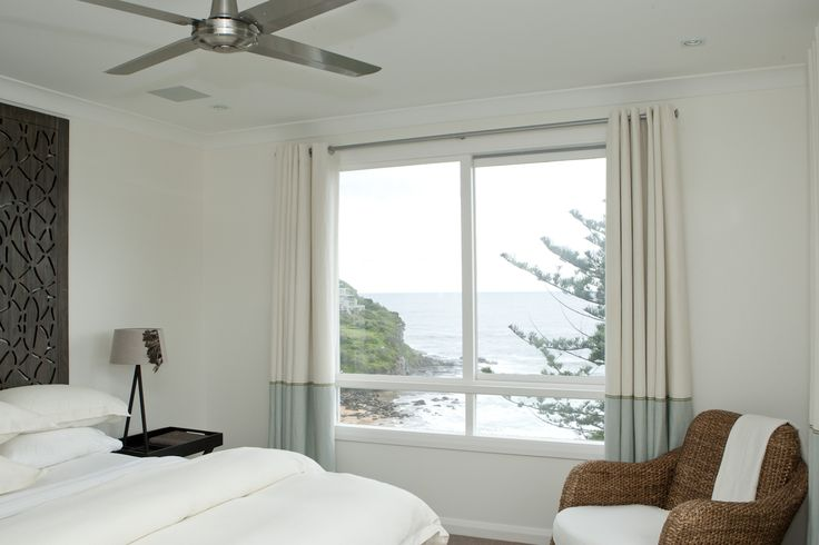 Master bedroom with view to the sea. Brooke Aitken Design