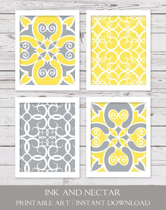Printable Art INSTANT DOWNLOAD Yellow and by inkandnectardigital