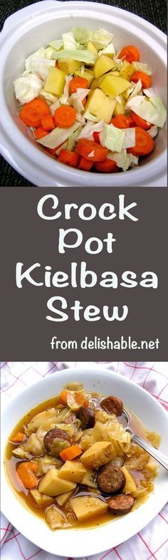 Crock Pot Kielbasa Stew recipe - a super easy and delicious dish you can throw together in a hurry and have waiting for you at the end of your busy day. | delishable.net