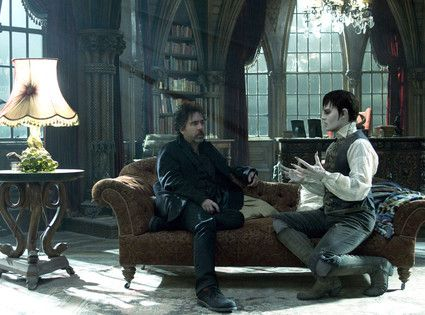 "Tim Burton and Johnny Depp on set for ""Dark Shadows"""