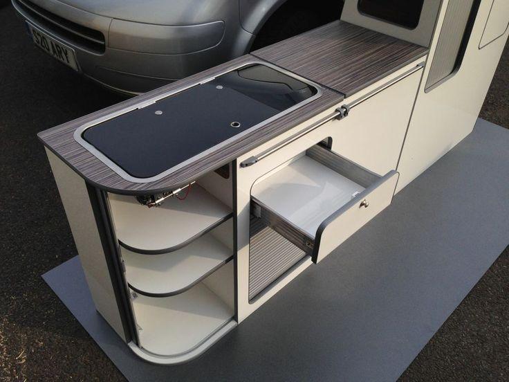 Curved VW T5 furniture flat pack furniture SWB kitchen camper unit in all carbon in Vehicle Parts & Accessories, Motorhome Parts & Accessories, Campervan & Motorhome Parts | eBay