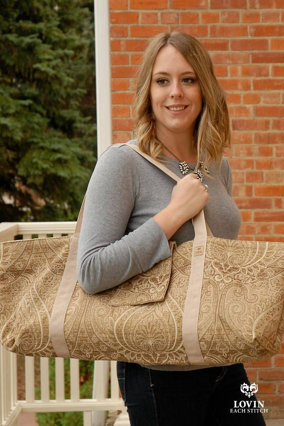 Neutral yoga tote hand made with super durable upholstery fabric.  Fabulous print! #yogagear #yogamatbag