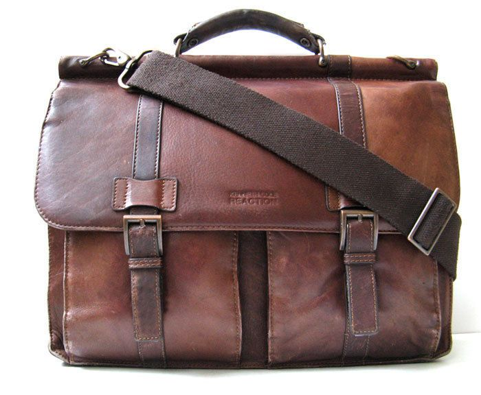 VTG Kenneth Cole Reaction Colombian Leather Dowel Rod Double Gusset Laptop Brief #KennethColeReaction #BriefcaseAttache