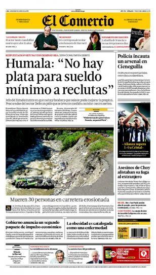 JUEVES 20 de JUNIO de 2013  (PORTADA DE EL COMERCIO)