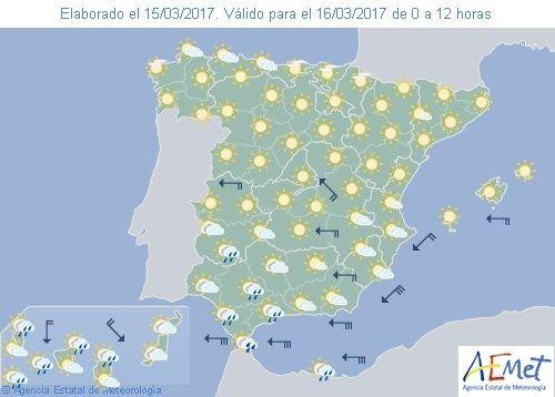 El Tiempo del jueves: Precipitaciones y viento en el estrecho y costa andaluza.  Suben las temperaturas en el norte.