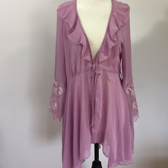 Delicates Lingerie Cover Up- Med NWT Lovely lilac colored sheer flowey cover- up- wear it over your sexiest favorites!  Delicates Intimates & Sleepwear Robes