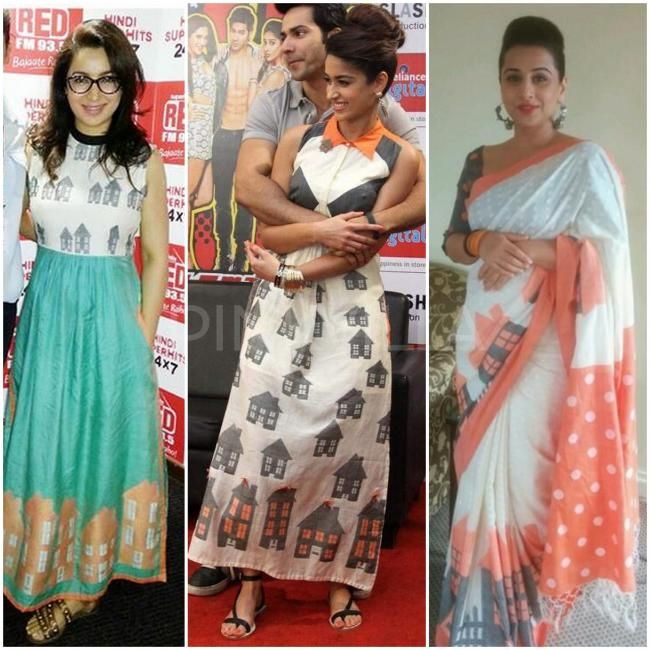 Tisca Chopra, Ileana D'cruz and Vidya Balan wearing Debashri Samanta