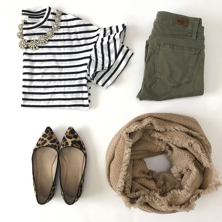 fall outfit striped tee leopard flats olive jeans camel scarf