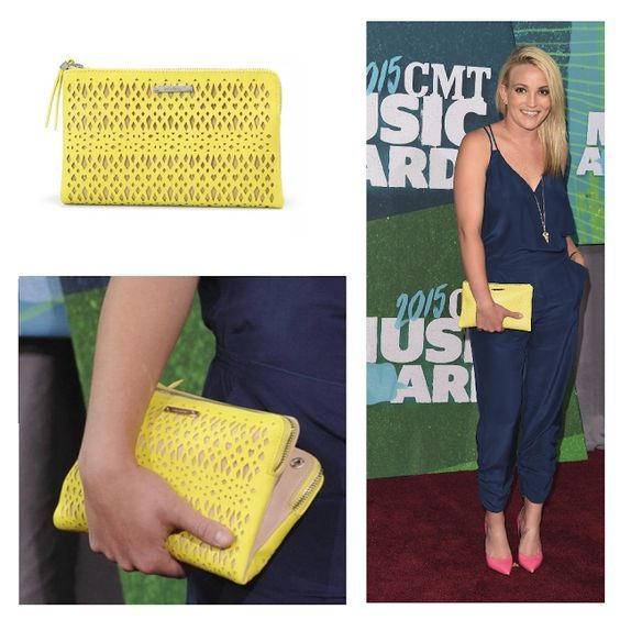 Stella & Dot Citrine Double Clutch - as seen on Jamie Lynn Spears at the 2015 CMT Awards www.stelladot.fr/zabou #zabou #stelladot #stelladotstyle #jamielynnspears #spears #britney #britneyspears #pochette #double #perforée #citrine #cmtawards #2015