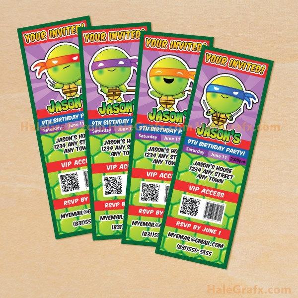 153 best teenage mutant ninja turtles theme party images on printable teenage mutant ninja turtles inspired ticket invitations filmwisefo Image collections