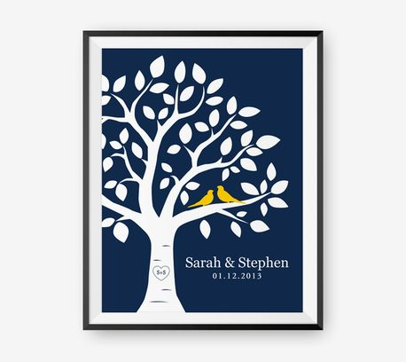 Personalized Wedding Tree Print, Anniversary Gift, Love birds Newlyweds Gift by Loopz