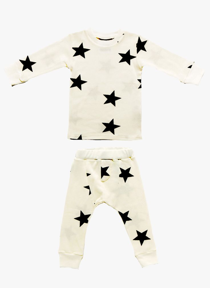Nununu Star Loungewear/Sleepwear PJ's in White-11 Main