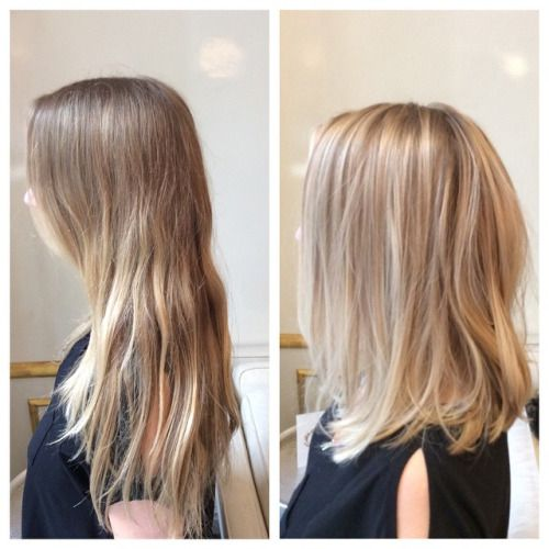 Before after for this blondie balayage hairpainting for Balayage tie and dye maison