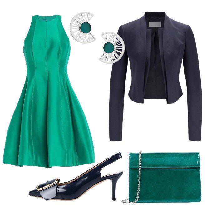 buy popular d706a 3ee9d Abito corto e pochette verde smeraldo, giacca corta e ...