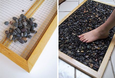 diy stone bath mat--YES! There is nothing more luxurious than stepping on stones in your bare feet!
