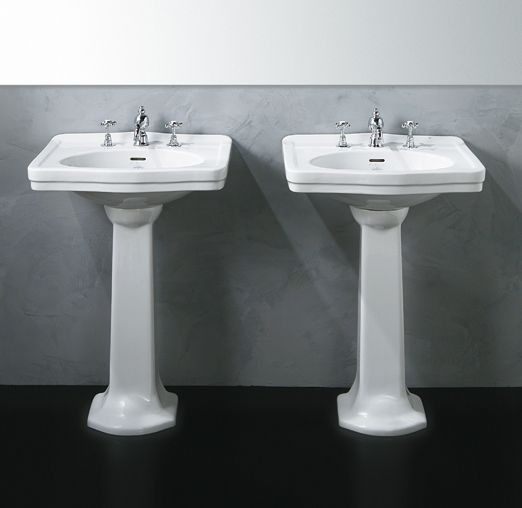 LO914+LO915 | Londra Ceramica Simas Washbasin 58 with single tap hole pre-punched for three tap holes. To be mounted on pedestal