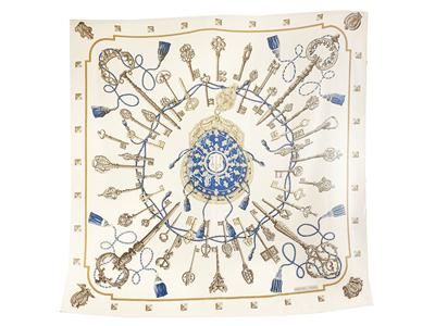 SCARF/SJAL,  HERMÈS,  Les Cles, Cathy Latham, 140x140cm, 65%  cashmere, 35% silk, off white, grey, blue,