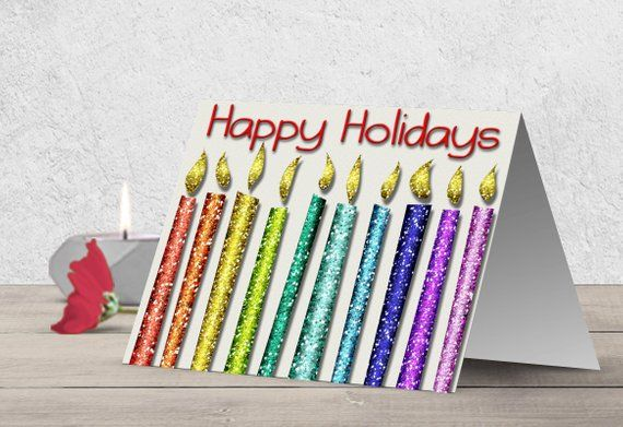 image relating to Happy Holidays Printable Card identify Pleased Vacations card, Glitter greeting card, Colourful rainbow