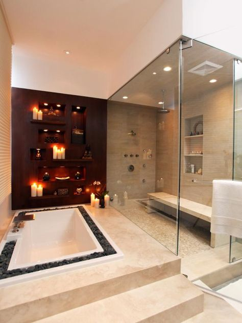 Designer Christopher Grubb created a modern bathroom that features a large walk-in shower, sunken tub and double vanity on HGTV.com.